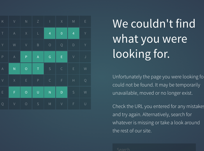 404 Page Not Found Template Codepen