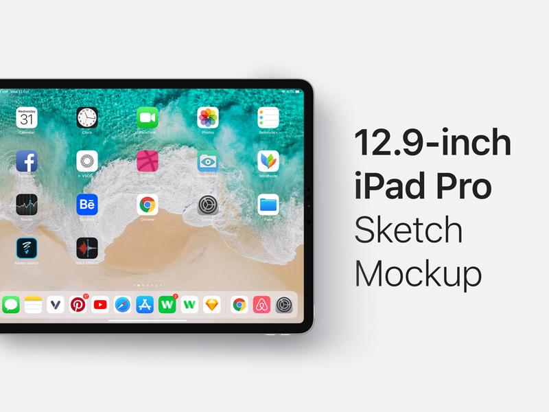 12 9-inch iPad Pro Mockup Sketch - Freebie Supply