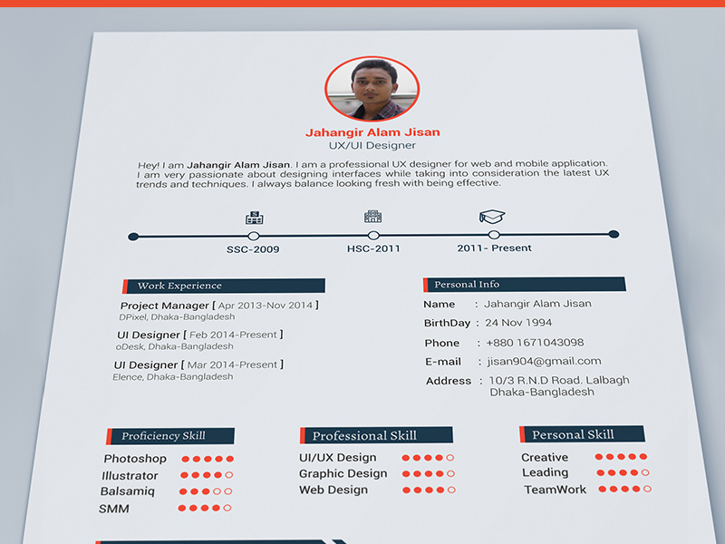 3 resume template   free psd