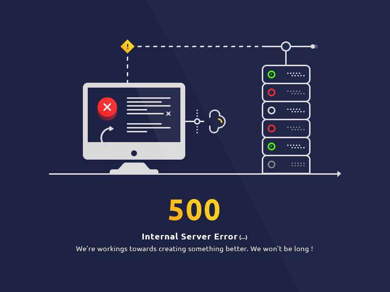 500 Internal Server Error Page Template: Free PSD - Freebie