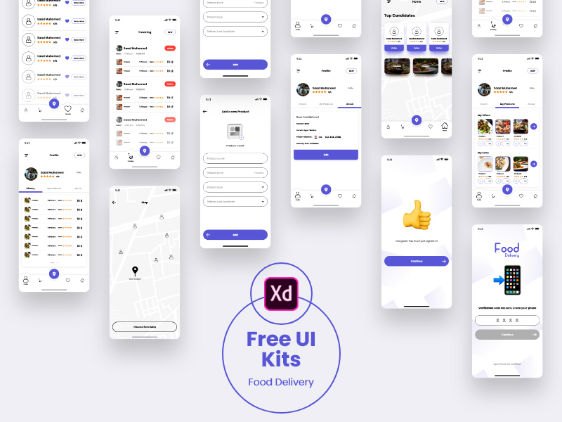 Food Delivery UI Kit for Adobe Xd - Freebie Supply