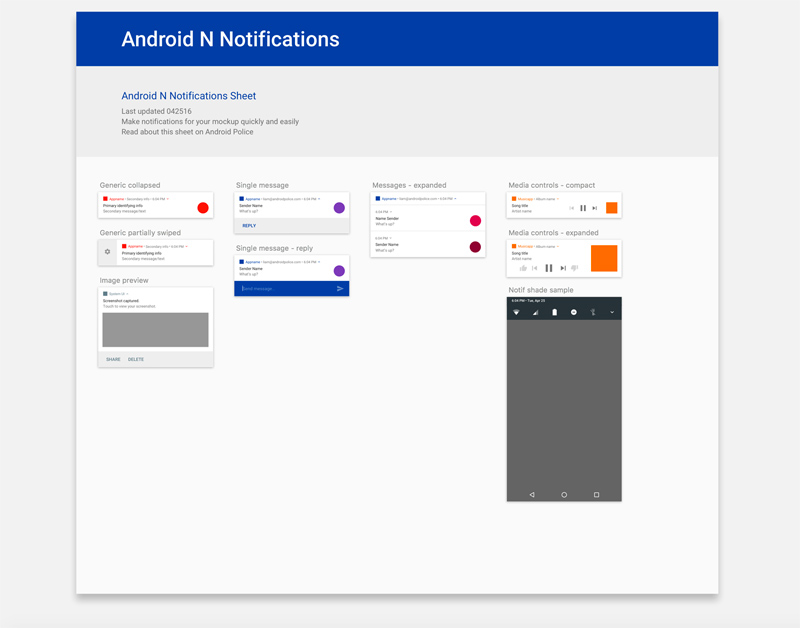 Android N Notifications for Sketch - Freebie Supply