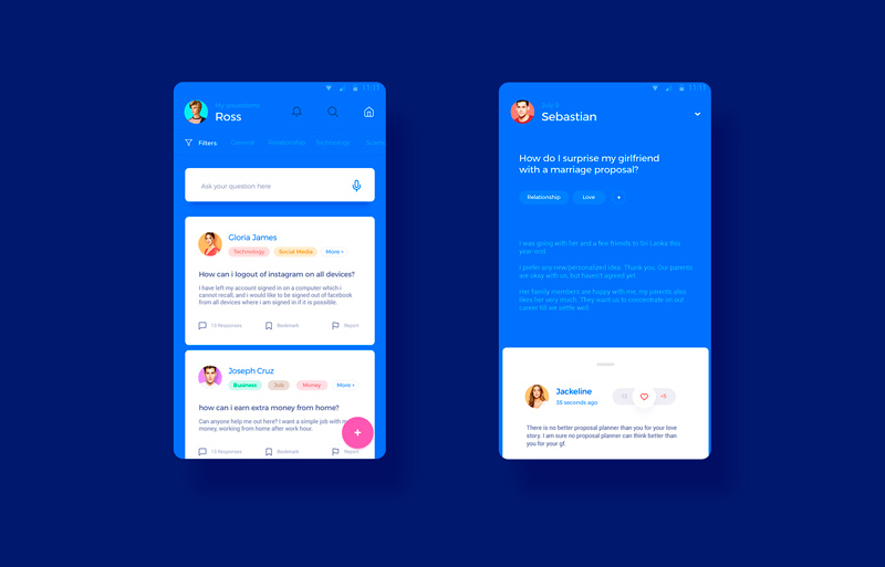 Answerly - Answers App Concept for Adobe XD - Freebie Supply