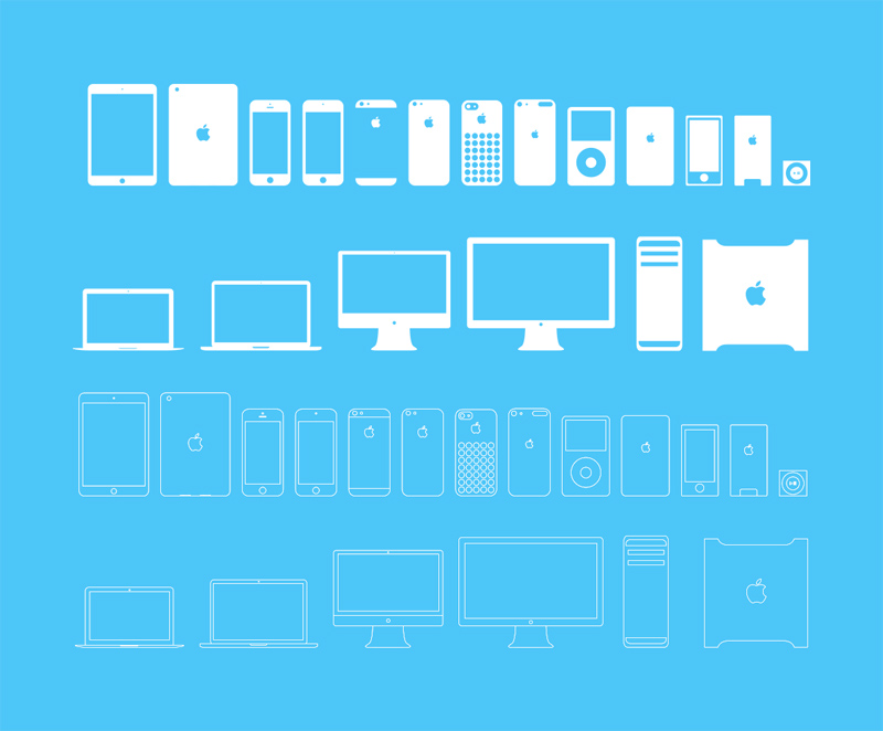 Apple Devices Icons Full/Outline - PSD Freebie - Freebie Supply