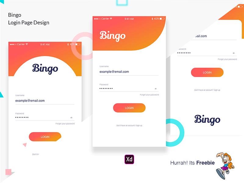 Bingo Login Screens Freebie Supply
