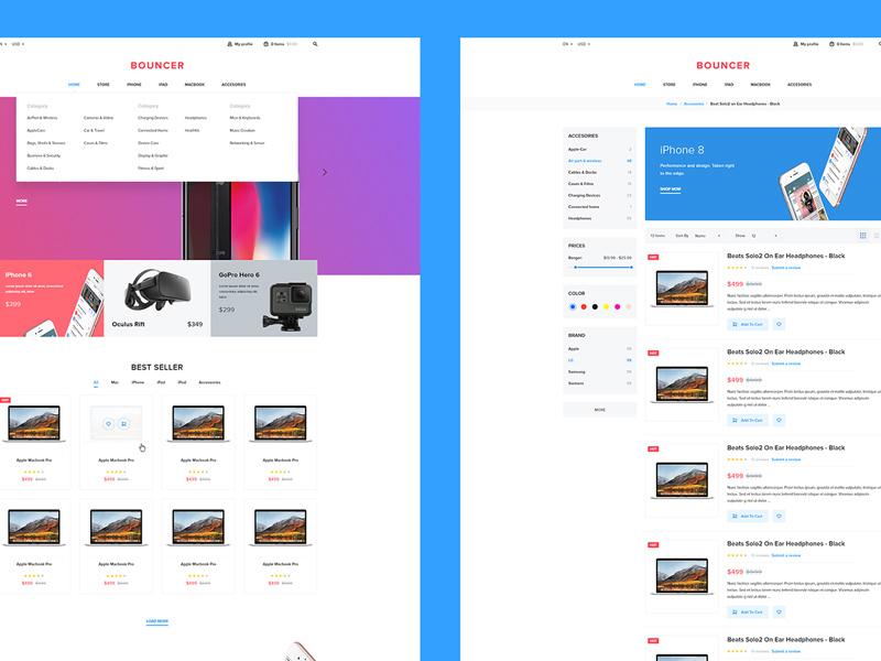 E-commerce Web Kit for Adobe XD - Freebie Supply