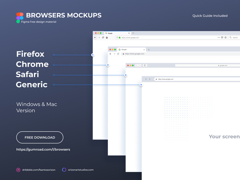 Browsers Mockups Free Figma Download Freebie Supply