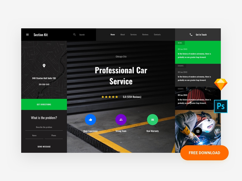 Car Service Website Template Freebie Supply