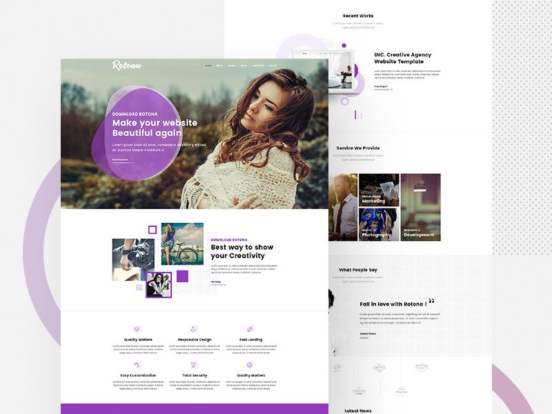 Creative Website Template Rotona Freebie Supply