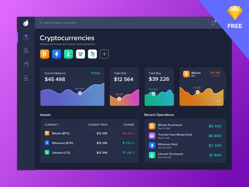 Dark Crypto Dashboard - Sketch Freebie - Freebie Supply