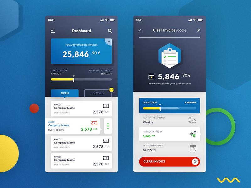 dasboard clear invoices app design psd freebie