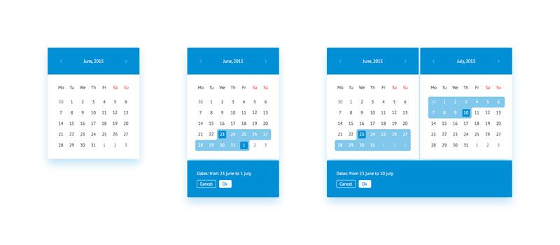Date Picker Widget made in Sketch - Freebie Supply