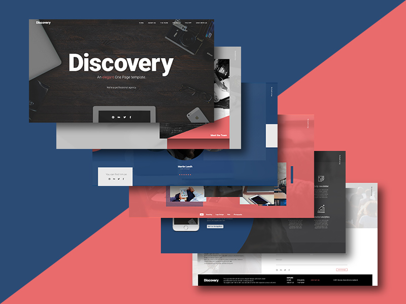 Discovery One Page Website Template Free Psd Freebie Supply