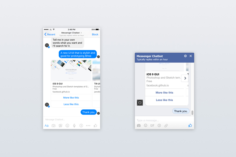 Facebook Messenger Ui Kit For Chatbots Sketch Freebie Freebie Supply
