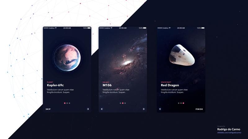 Free Space UI Kit - Walkthrough Screens - Freebie Supply