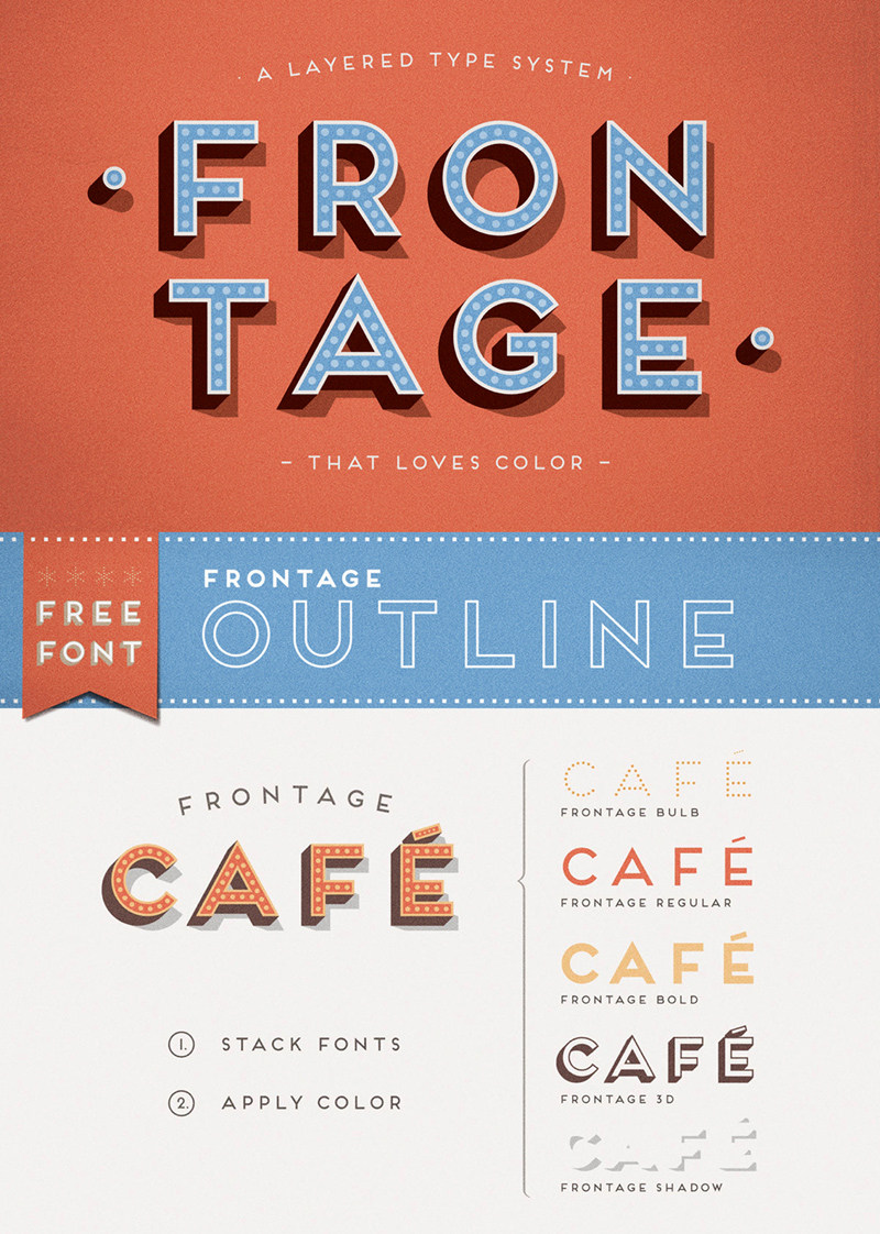 Frontage Font - Decorative Outline Typeface - Freebie Supply