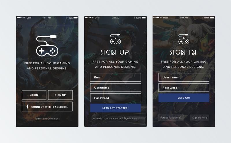 gaming app splash register and sign up screens free sketch
