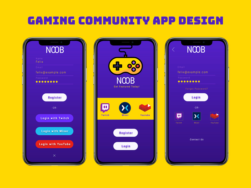 Gaming Community App Signup Design For Adobe XD - Freebie Supply