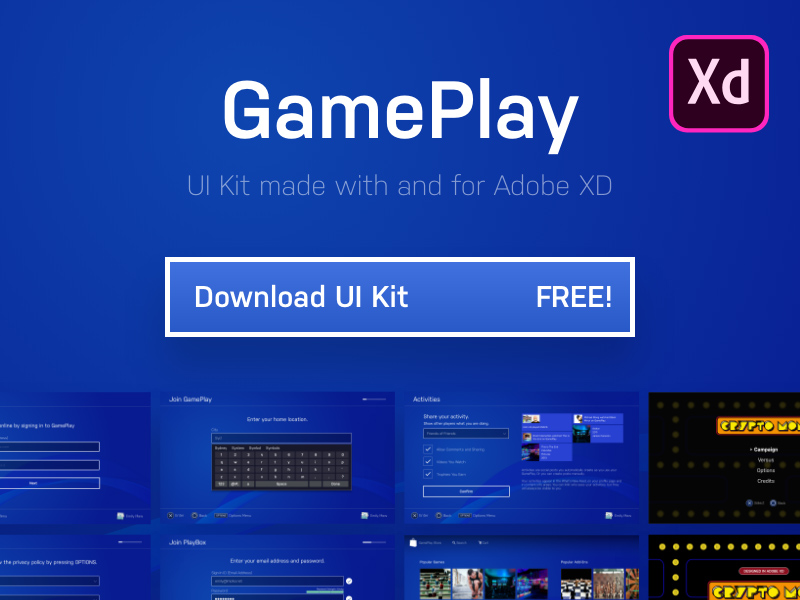 Adobe XD UI Kit - Gaming Console - Freebie Supply
