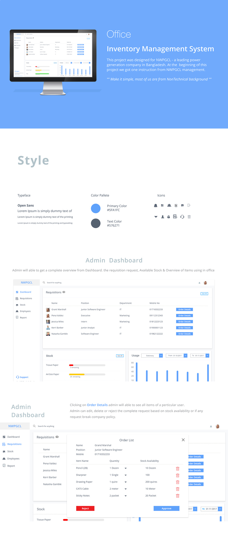 Adobe XD Dashboard Template - Inventory Management System UI