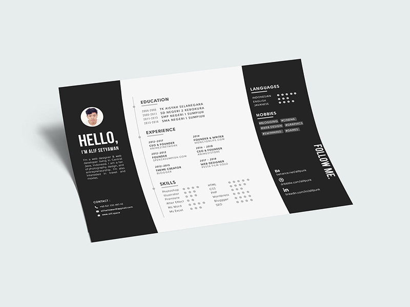 landscape cv resume a4 template - free resource