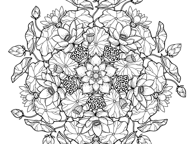 Lotus Mandala Printable Coloring