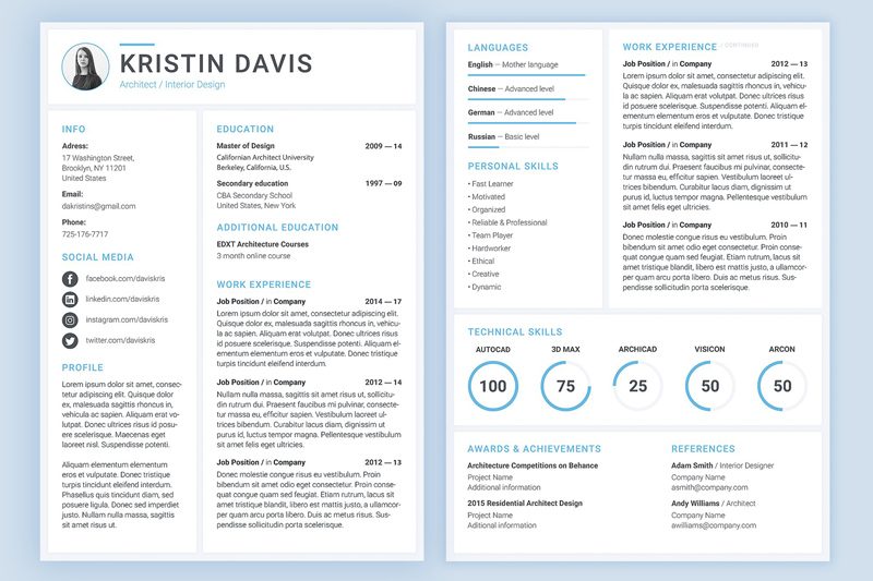 modern resume template - psd freebie