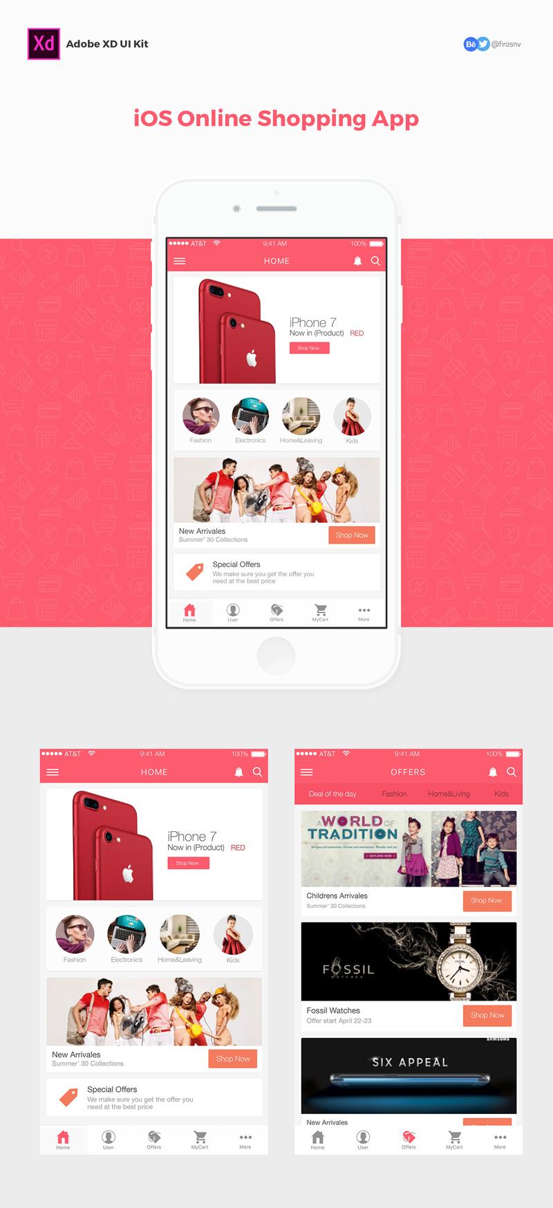 ios online shopping app adobe xd ui kit template freebie supply