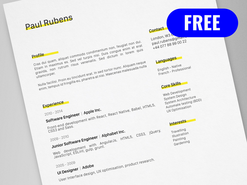 Resume Template Adobe Illustrator 45