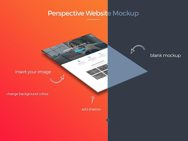 Perspective Website Mockup Free Psd Freebie Supply
