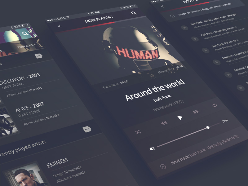 12 Free Music UI Kits for Photoshop and Sketch - Freebie Supply