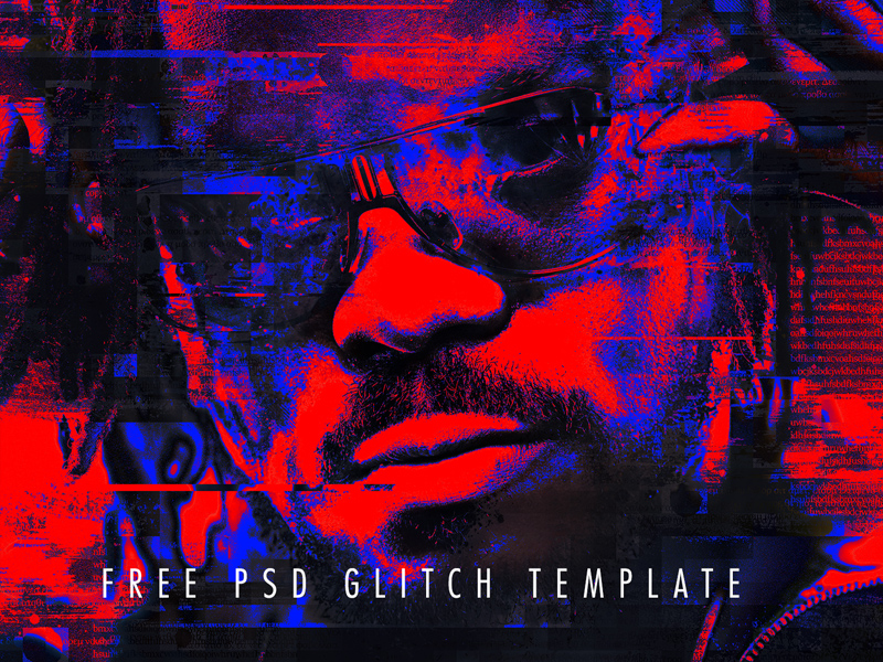 photoshop glitch effect template psd freebie freebie supply