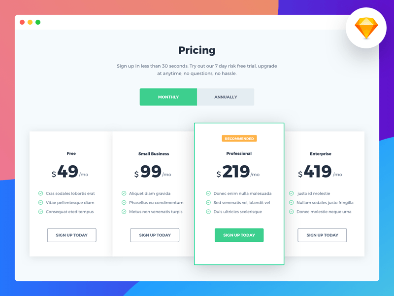 pricing page template free sketch freebie supply