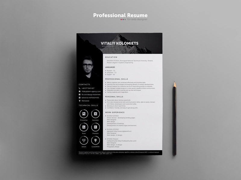 Professional Resume Template For Designers Free Resource Freebie