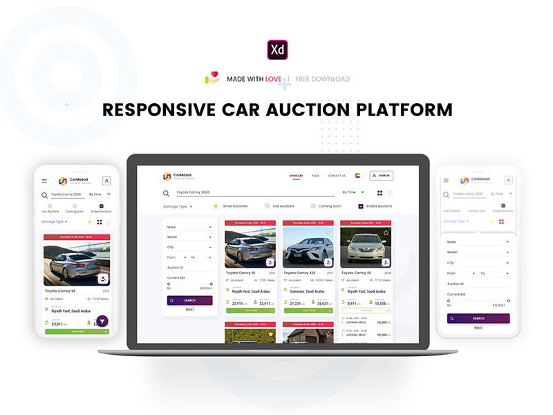 Car Auction Website Template Freebie Supply