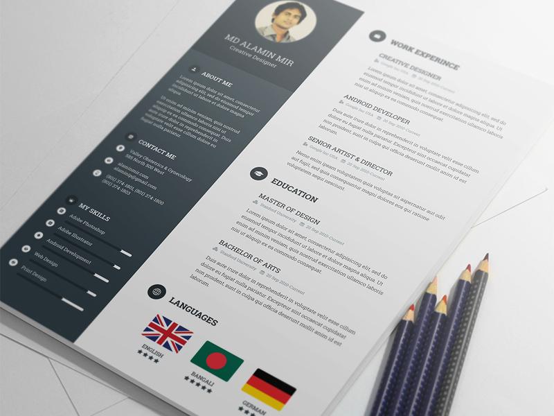 Resume Template By Alamin Mir Freebie Supply