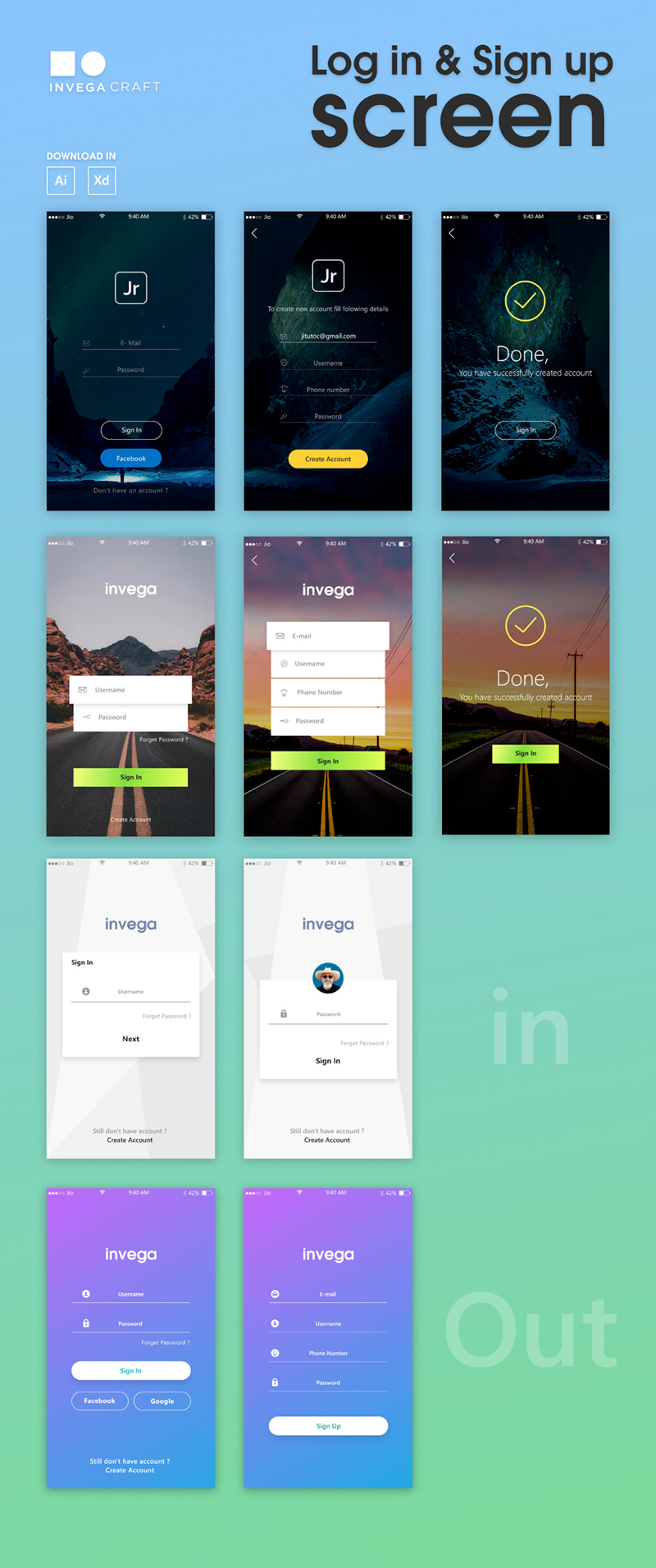 Sign In Sign Up Screen Adobe Xd Ui Kit Freebie Supply