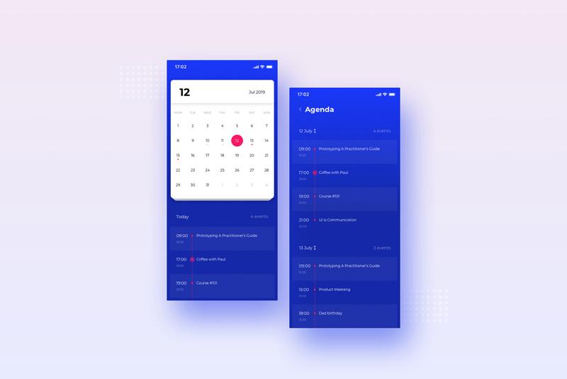Simple Calendar App UI - Free Sketch - Freebie Supply