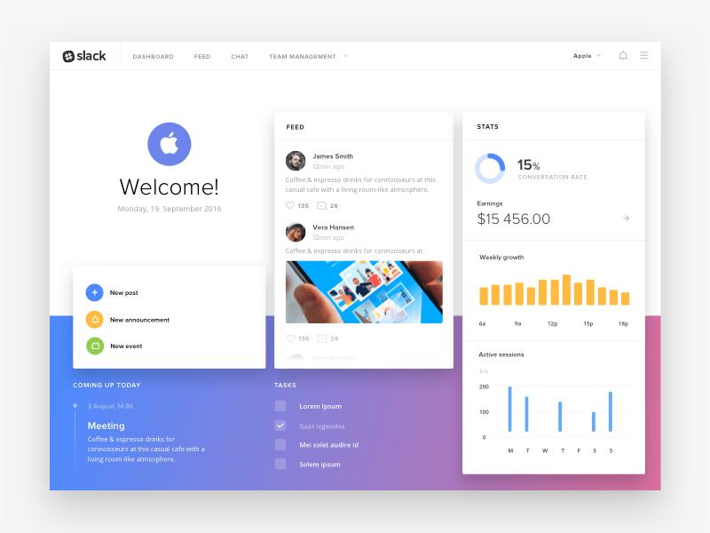 Slack Dashboard Concept - Free Sketch - Freebie Supply