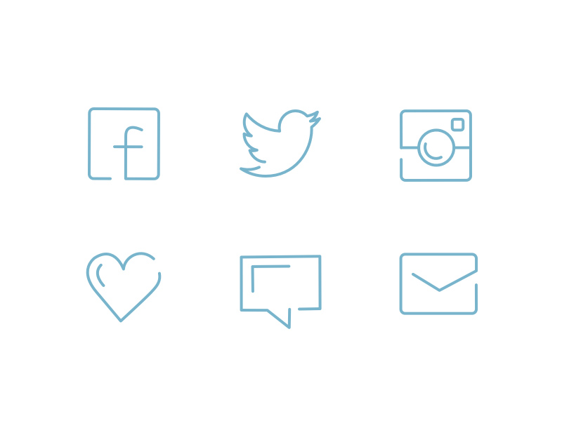 Social Line Icons Set for Sketch - Freebie Supply