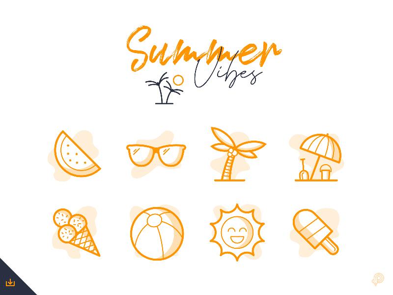 Summer Icons Vector - Freebie Supply