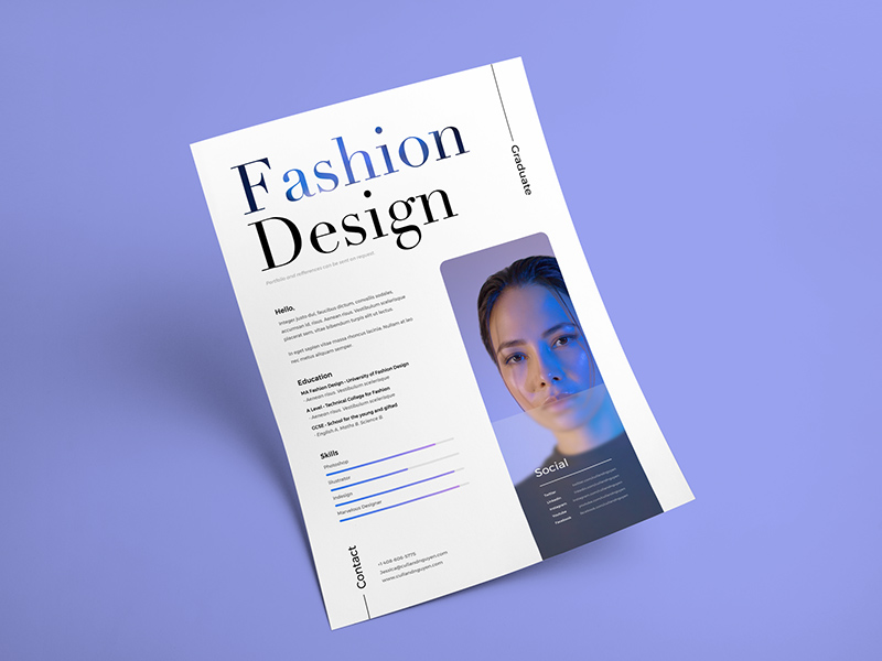 fashion design resume    cv