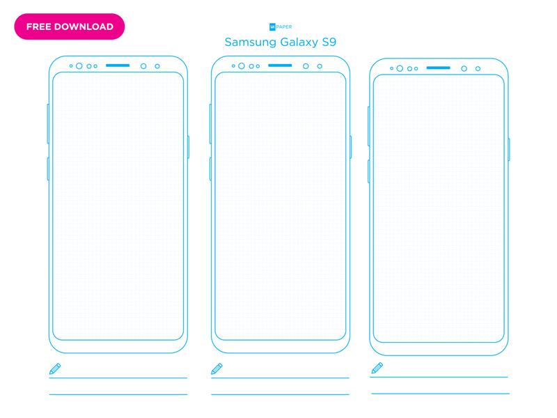 UI Paper Grid Galaxy S9 - Freebie Supply
