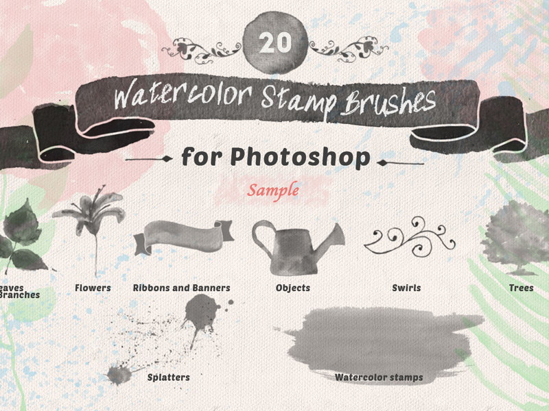 Free Watercolor Stamp Brushes - Freebie Supply
