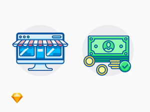 Online Shop Icon and Payment Accepted Icon – Free Sketch