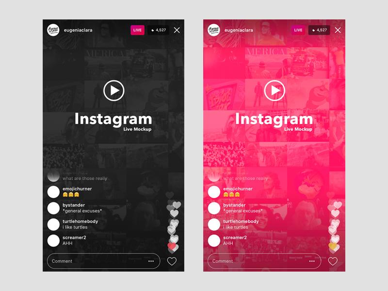 Instagram Live (iOS) UI Template & Mockup - Free Resource