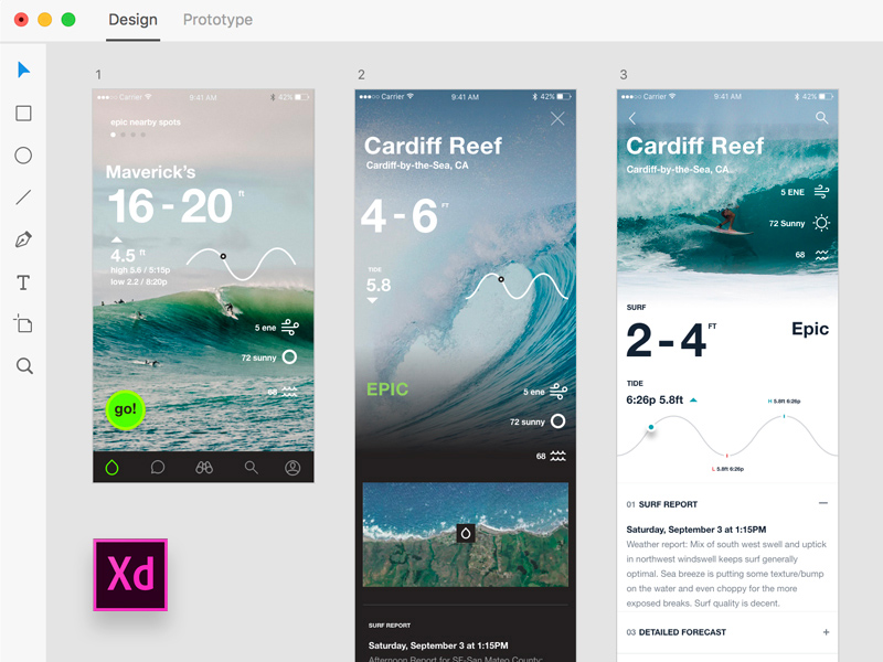 Onshore Surf Stats designed with Adobe Xd - Freebie Supply