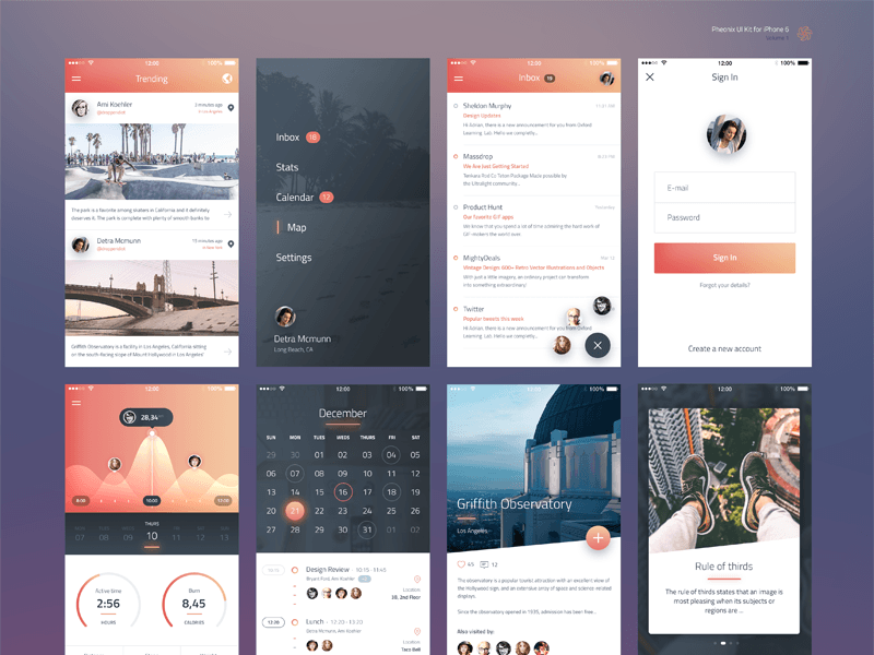 Phoenix UI Kit for iPhone 6 for Sketch - Freebie Supply