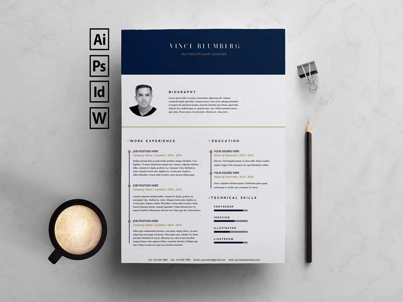 resume template  u0026 cover letter - free psd
