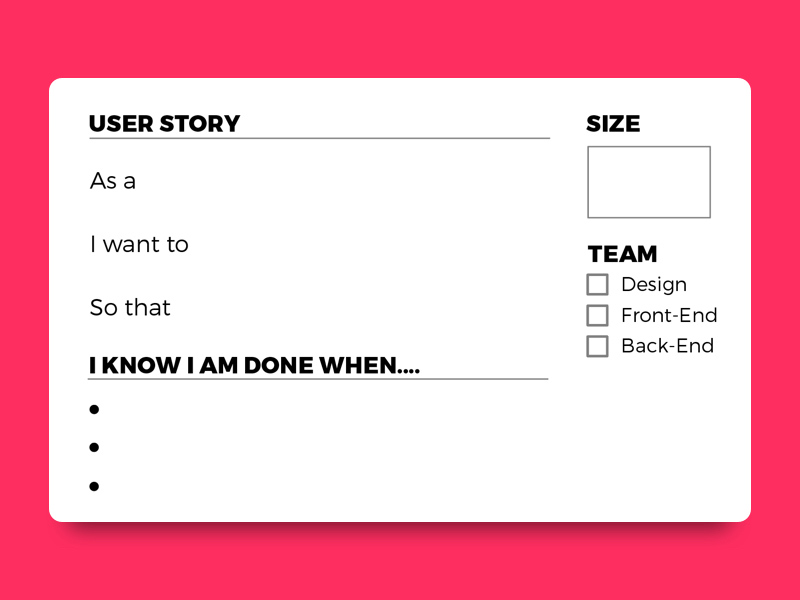 user story card template - printable pdf